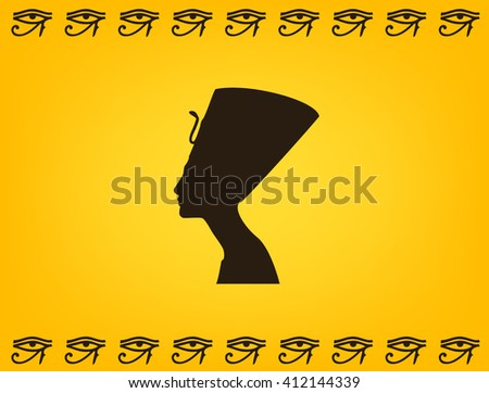 Nefertiti Silhouette Egyptian Symbols Eye Eye Stock Vector Royalty