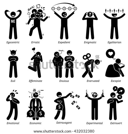 Negative and Neutral Personalities Character Traits. Stick Figures Man Icons. Starting with the Alphabet E. - stock vector
