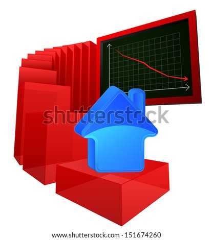 negative business results of real estate market vector illustration - stock vector