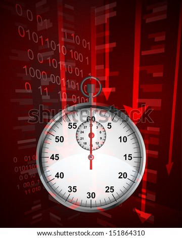 negative decreasing statistics results in time vector illustration - stock vector