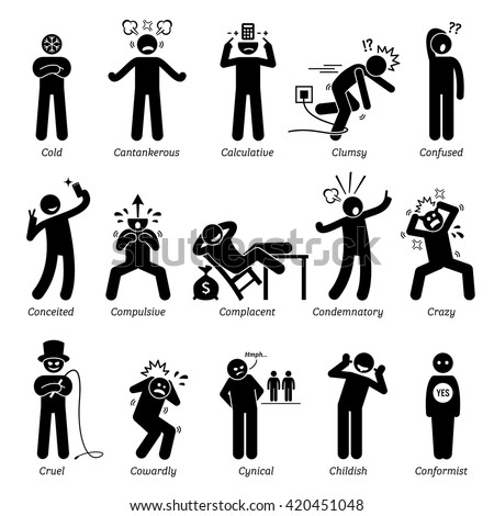 Negative Personalities Character Traits. Stick Figures Man Icons. Starting with the Alphabet C. - stock vector
