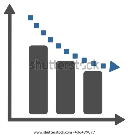 Negative Trend vector toolbar icon. Style is bicolor flat icon symbol, cobalt and gray colors, white background, square dots.