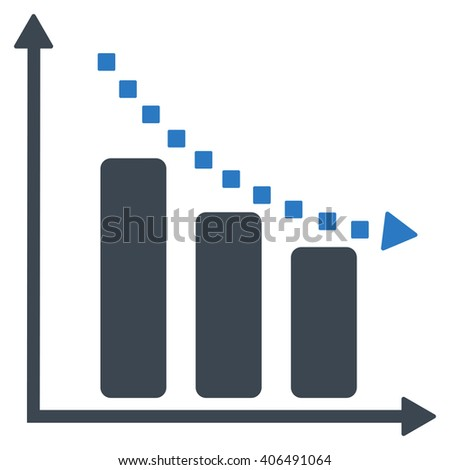 Negative Trend vector toolbar icon. Style is bicolor flat icon symbol, smooth blue colors, white background, square dots.