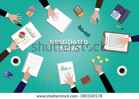 negotiated market marketing team work together vector illustration - stock vector