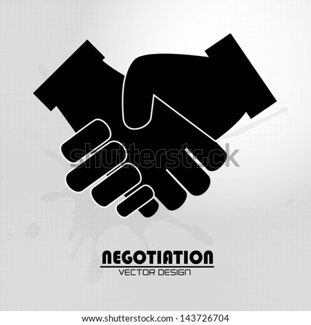 negotiation icon over gray background vector illustration - stock vector