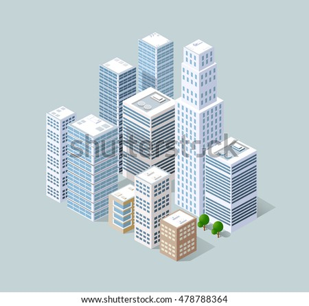 Neighborhood 3d isometric three-dimensional view of the city. Collection of houses, skyscrapers, buildings and supermarkets. The stock vector