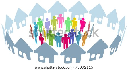 Neighborhood home people social network meet inside a circle of houses - stock vector
