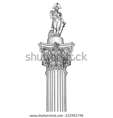 Nelson colunm isolated. Admiral Nelson statue in Trafalgar Square, London, England, UK. - stock vector