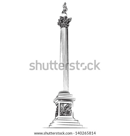 Nelson's Column in London - vector lineart illustration - stock vector