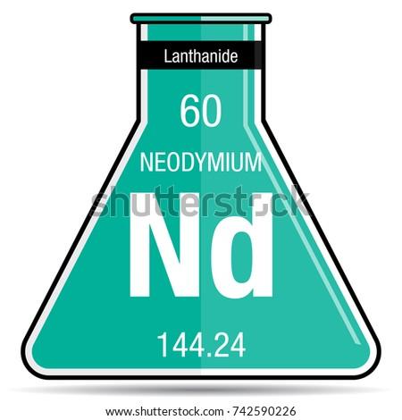 Neodymium Symbol On Chemical Flask Element Stock Vector 2018