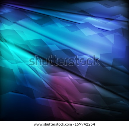 Neon abstract blue lines design on dark background vector - stock vector