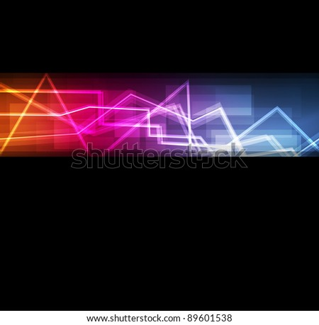 Neon abstract lines design on dark background vector for poster