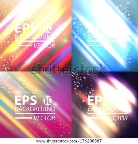 Neon abstract lines design vector collection background