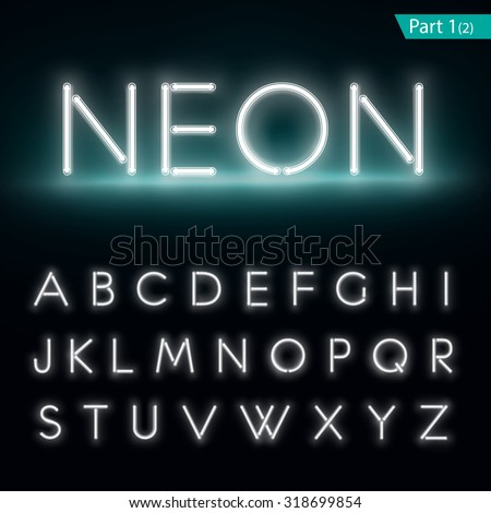 Neon alphabet. Glowing font. Vector format part 1  - stock vector