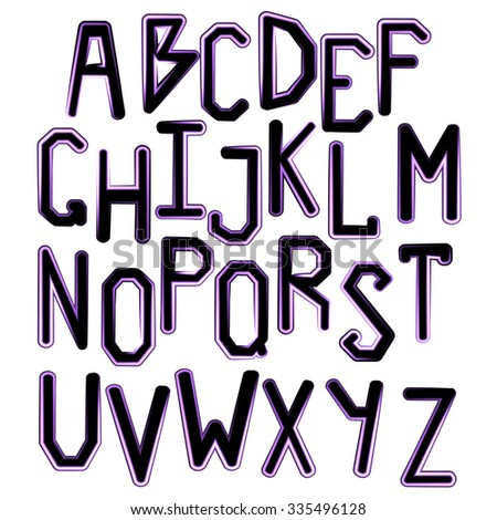 Neon alphabet. Glowing letters. Black and pink color. Isolated on white background. The Latin alphabet. Bright font. Vector illustration. - stock vector