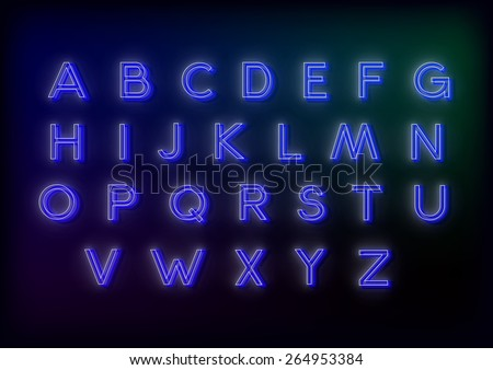 neon alphabet. 26 letters for your design, glowing and very beautiful - stock vector