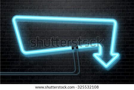 neon arrow - stock vector