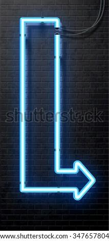 neon arrow banner isolated on black brick wall - stock vector