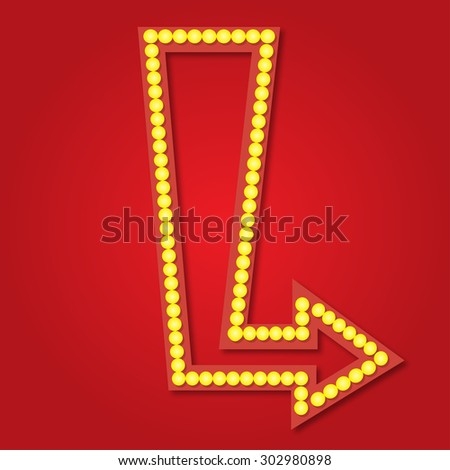 Neon arrow sign background - stock vector