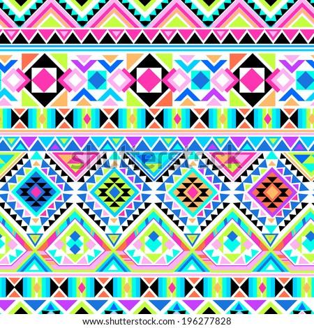 Neon Aztec geometric print ~ seamless vector background - stock vector