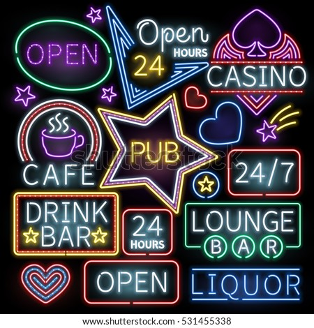 Neon bar illumination vector signs
