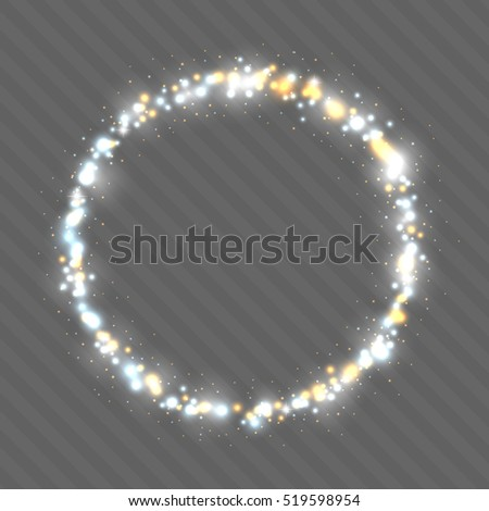 Neon blue and gold glittering snow on form round frame. Design template. Transparent background. Vector illustration.