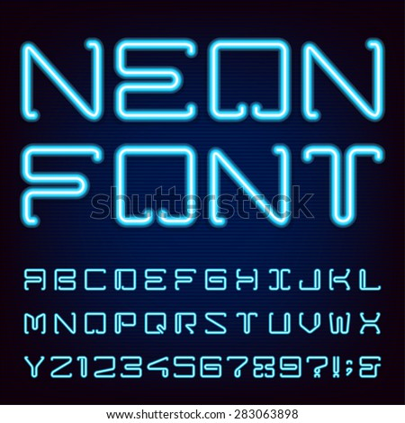 Neon Blue Light Alphabet Vector Font. Techno style blue neon tube letters on dark background. Type letters, numbers and punctuation marks.