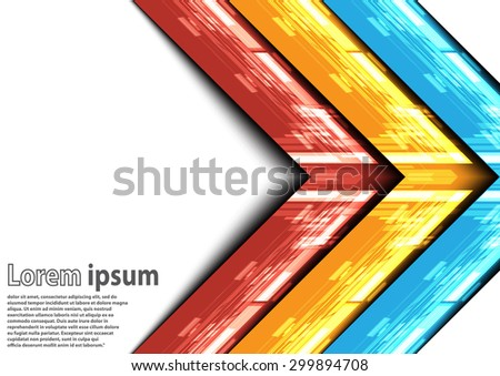 Neon blue red yellow arrow abstract background. Vector illustration