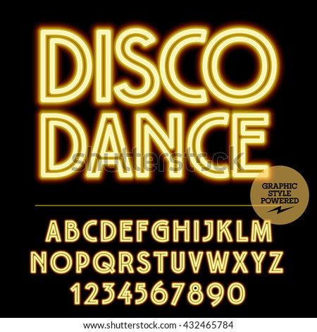Neon bright set of alphabet letters, numbers and punctuation symbols. Vector light up yellow logotype with text Disco dance - stock vector