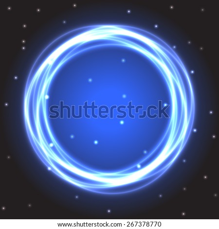 Neon burning blue circle on black space background with sparkling stars. Vector illustration, eps10 - stock vector