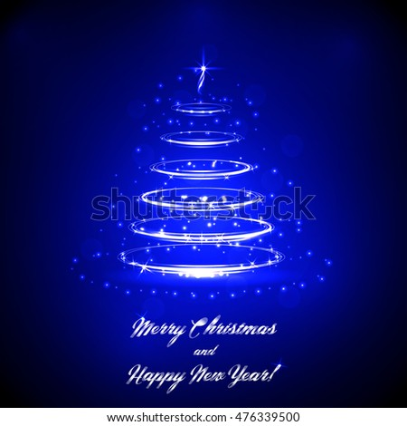 Neon Christmas tree vector background. Template for Christmas holidays.