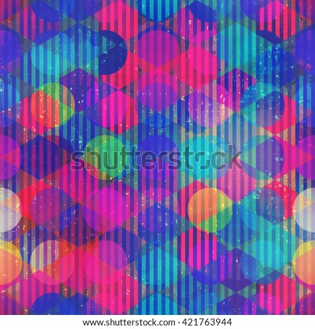 Neon circle seamless pattern