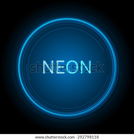 Neon Circle Vector Background - stock vector