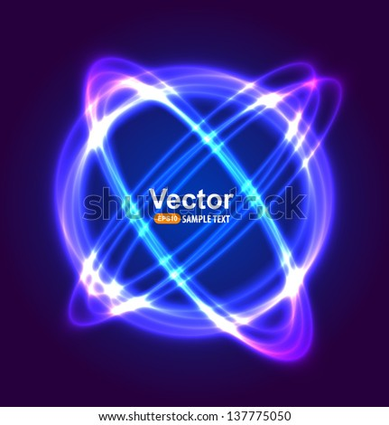 Neon circle vector light - stock vector