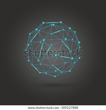 Neon circles with blue color. Star technology concept. Vector illustration. - stock vector