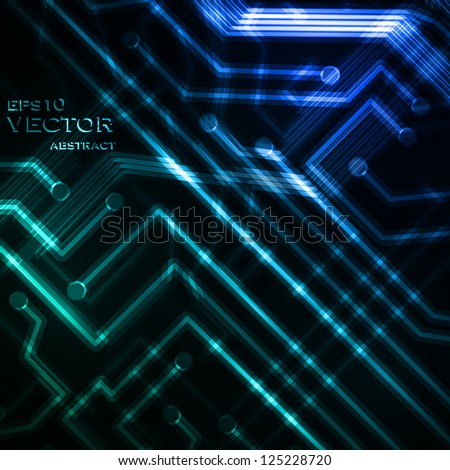 Neon circuit board, abstract vector background, technology illustration eps10 - stock vector