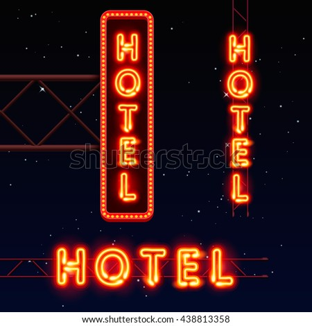 Neon city banner hotel, set vertically horizontally text, Vector illustration - stock vector