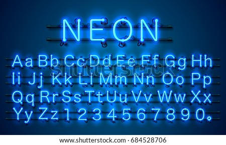Neon city color blue font english stock vector royalty free neon city color blue font english alphabet and numbers sign vector illustration thecheapjerseys