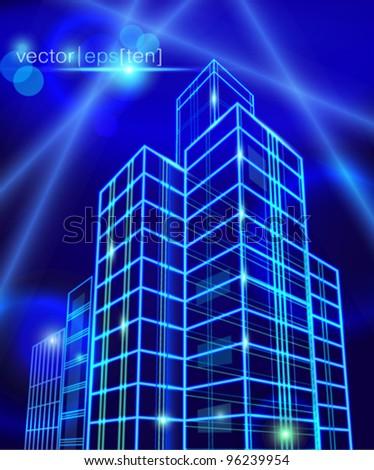 Neon city construction. Vector eps10. - stock vector