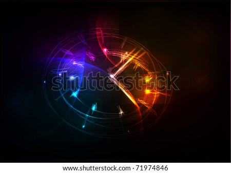 neon clock background - stock vector