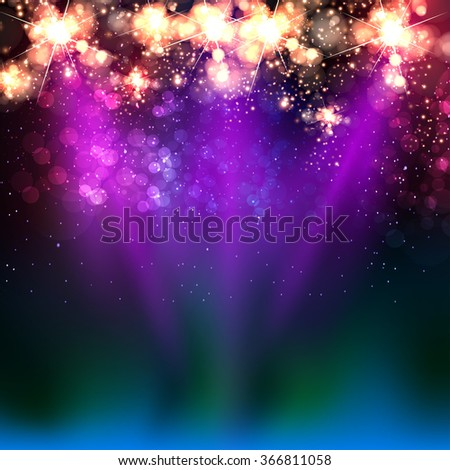 Neon color light stage background - stock vector