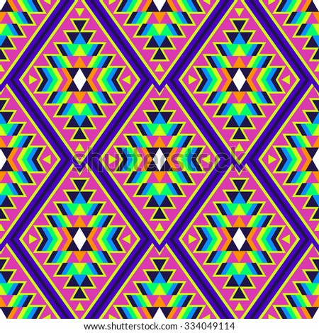 neon color tribal indian seamless pattern. abstract geometric print. ethnic hipster backdrop. It can be used for wallpaper,  web page background, fabric, paper, postcards.  - stock vector