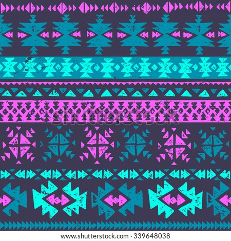 neon color tribal Navajo seamless pattern. aztec grunge abstract geometric art print. ethnic hipster backdrop. Wallpaper, cloth design, fabric, paper, wrapping, textile. hand drawn.   - stock vector