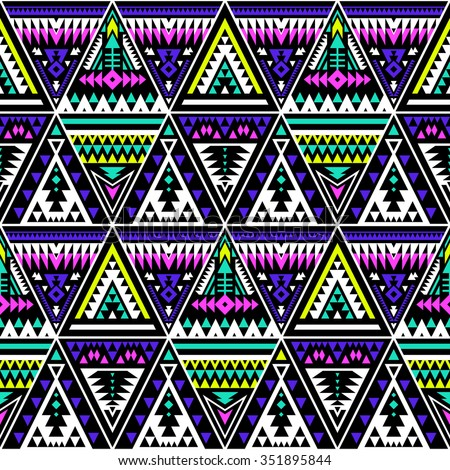 neon color tribal Navajo seamless pattern with triangles. aztec fancy abstract geometric art print. ethnic hipster backdrop. Wallpaper, cloth design, fabric, paper, wrapping, textile design template. - stock vector