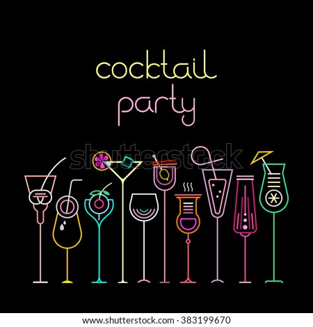 Neon colors on a black background Cocktail Party vector illustration. Ten various cocktail glasses and Cocktail Party text. Invitation vector poster.