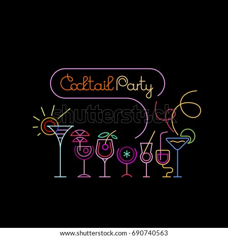 Neon colors on black background cocktail em vetor stock 690740563 neon colors on a black background cocktail party vector illustration various cocktail glasses and cocktail stopboris Choice Image