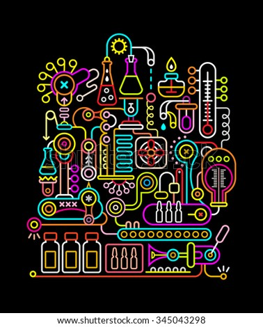 Neon colors on a black background modern research laboratory vector illustration.  - stock vector