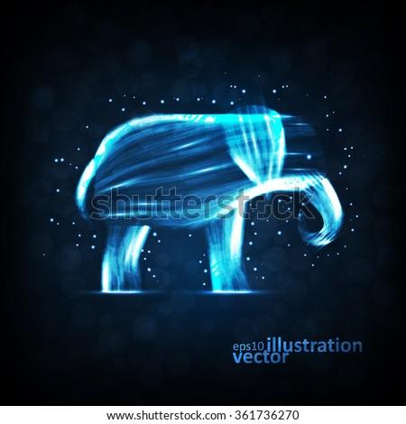 Neon elephant, abstract futuristic strip, stylish illustration eps10 - stock vector