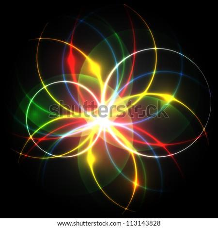 Neon eps10 editable vector flower - stock vector