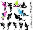 Neon Fairy Silhouettes - stock vector